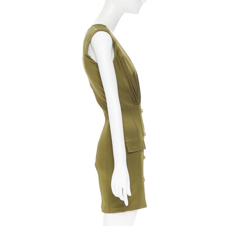 Women's new BALMAIN military khaki green gold double breasted wrap bodycon dress IT38 For Sale