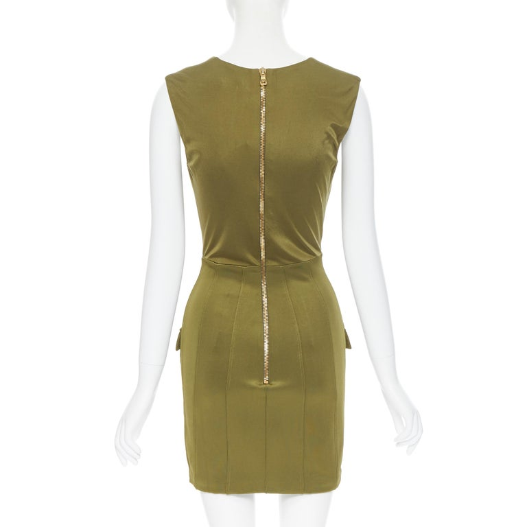 new BALMAIN military khaki green gold double breasted wrap bodycon dress IT38 For Sale 1