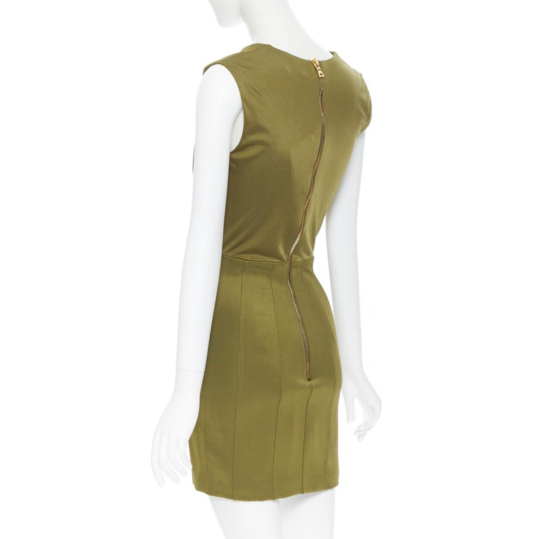 new BALMAIN military khaki green gold double breasted wrap bodycon dress IT38 For Sale 2