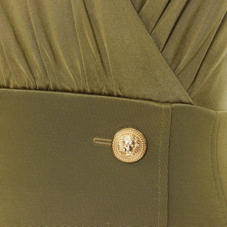 new BALMAIN military khaki green gold double breasted wrap bodycon dress IT38 For Sale 4