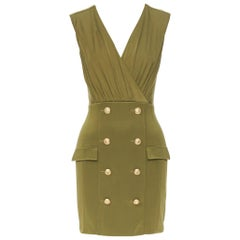 new BALMAIN military khaki green gold double breasted wrap bodycon dress IT38