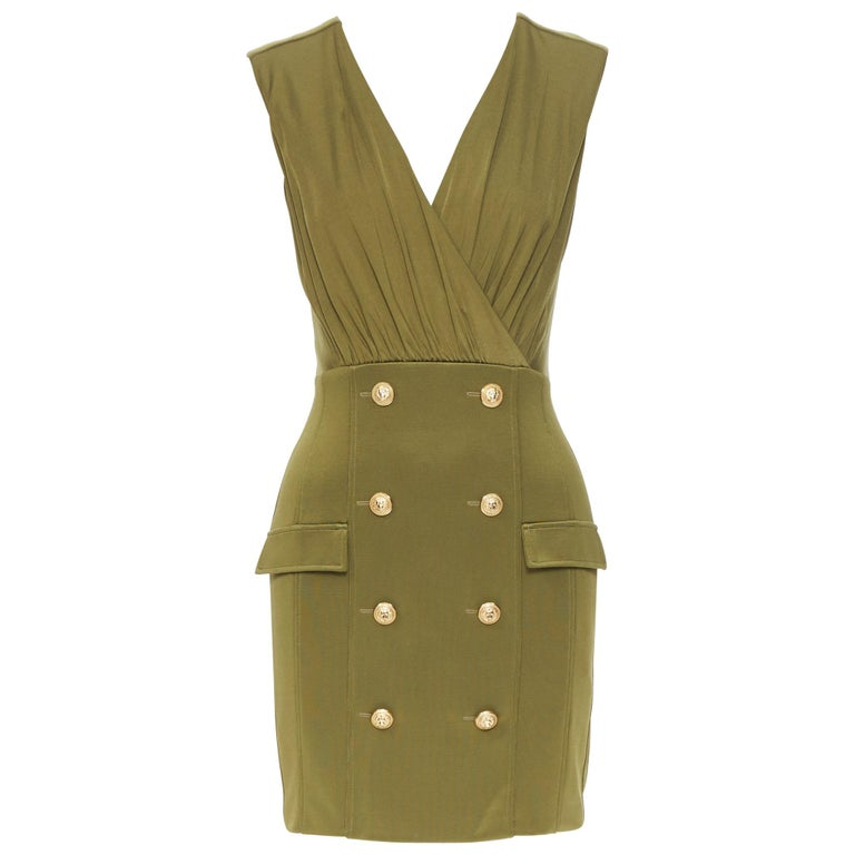 new BALMAIN military khaki green gold double breasted wrap bodycon dress IT38 For Sale