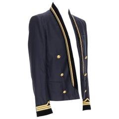 new BALMAIN navy cotton velvet military shawl collar double breasted jacket EU52