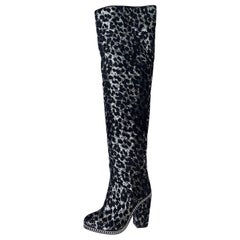 New Balmain Over-the-Knee Leopard Print Glitter Sequin Black Silver Boots 39 - 9