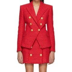 NEW Balmain Red Buttoned Mini Skirt FR38 US 4