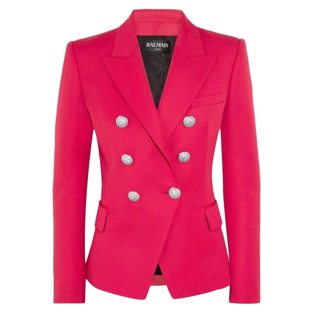 76927053 Balmain Red Double Breasted Blazer - Size FR 34 and 36 For Sale at 1stdibs