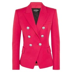 New Balmain Red Double Breasted Wool Jacket FR38 US4-6