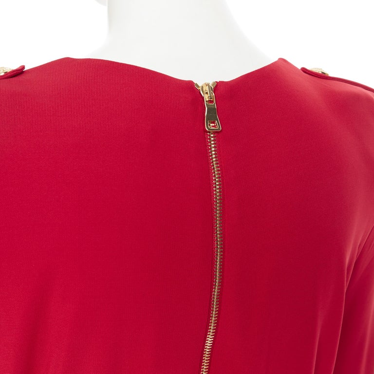 new BALMAIN red wrap viscose top military button embellished skirt dress FR40 M For Sale 5
