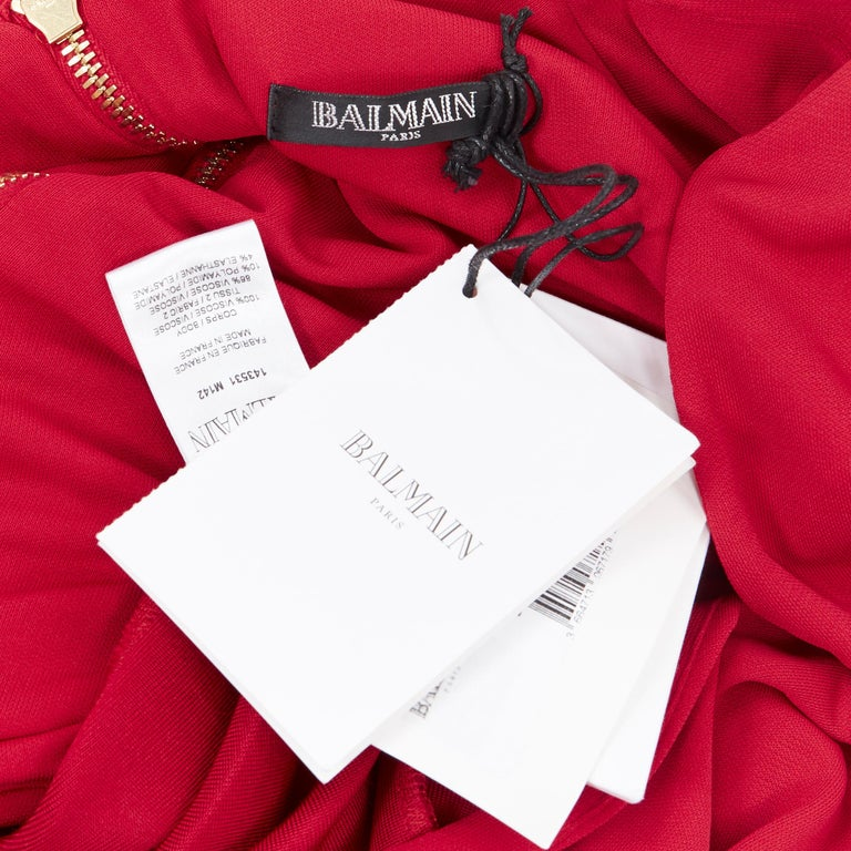 new BALMAIN red wrap viscose top military button embellished skirt dress FR40 M For Sale 6