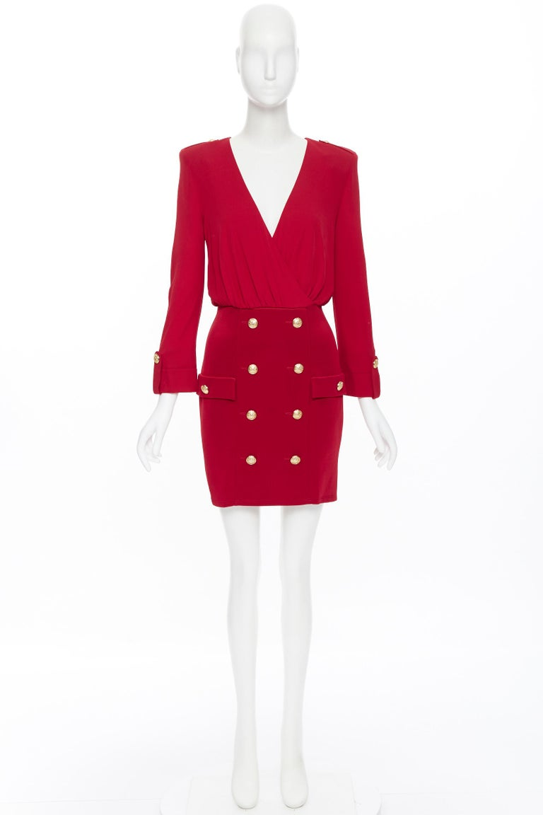 Red new BALMAIN red wrap viscose top military button embellished skirt dress FR40 M For Sale