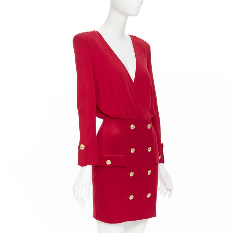 new BALMAIN red wrap viscose top military button embellished skirt dress FR40 M In New Condition For Sale In Hong Kong, NT