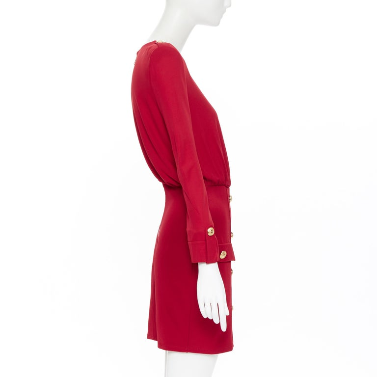 Women's new BALMAIN red wrap viscose top military button embellished skirt dress FR40 M For Sale