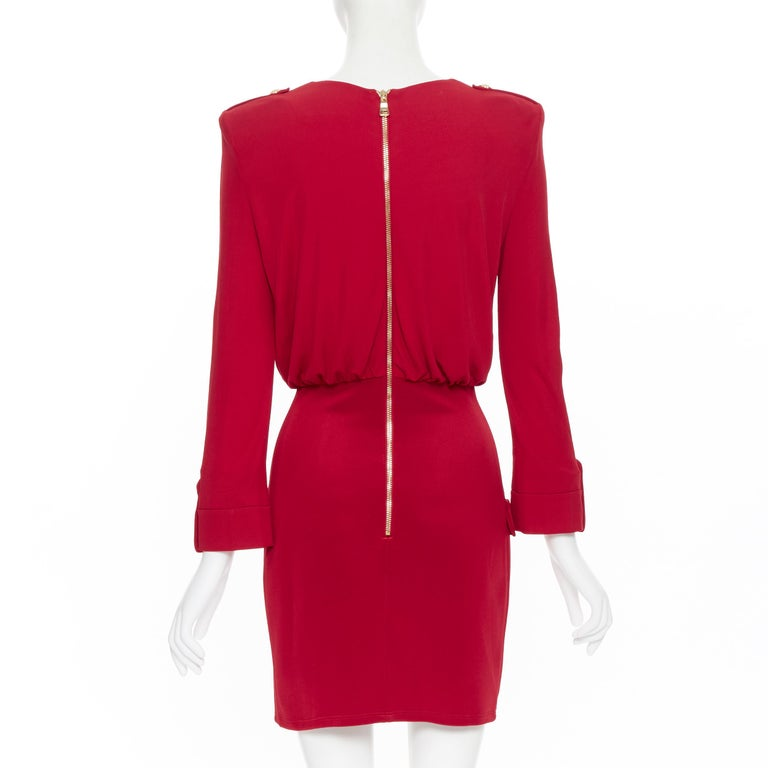 new BALMAIN red wrap viscose top military button embellished skirt dress FR40 M For Sale 1