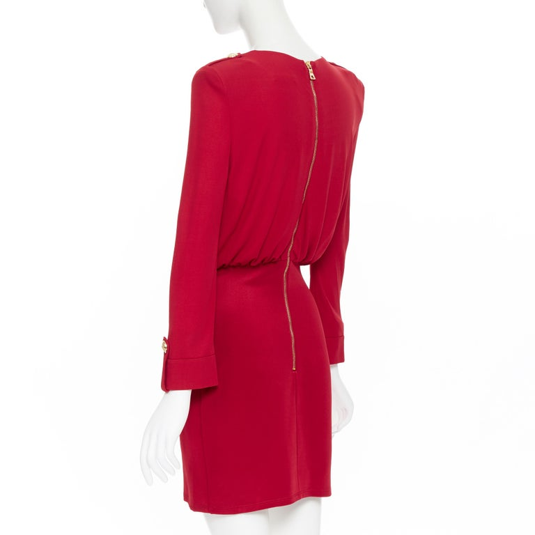 new BALMAIN red wrap viscose top military button embellished skirt dress FR40 M For Sale 2