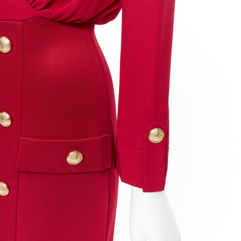 new BALMAIN red wrap viscose top military button embellished skirt dress FR40 M For Sale 3