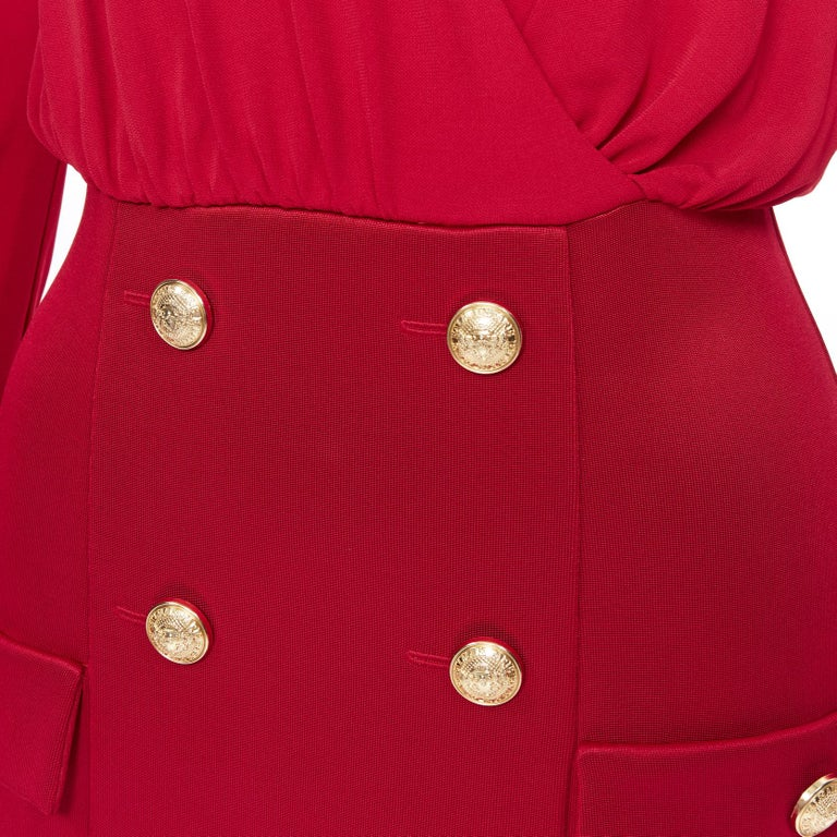 new BALMAIN red wrap viscose top military button embellished skirt dress FR40 M For Sale 4