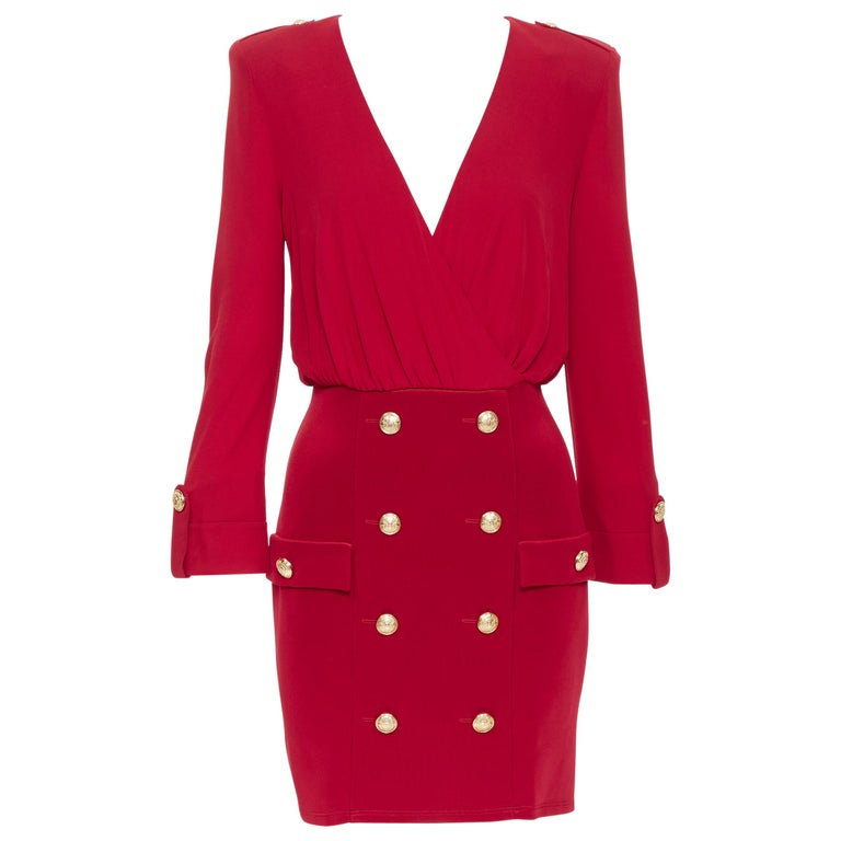 new BALMAIN red wrap viscose top military button embellished skirt dress FR40 M For Sale