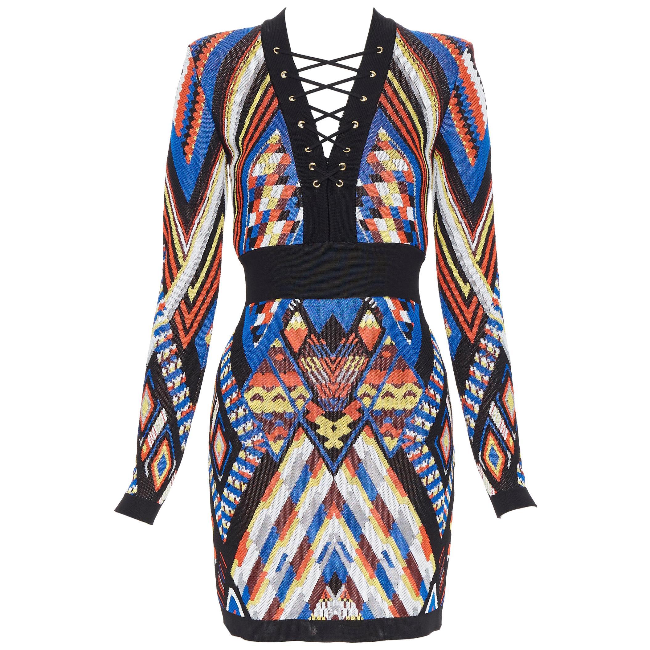 new BALMAIN Runway ethnic tribal knitted lace V-neck bodycon mini dress FR36 S
