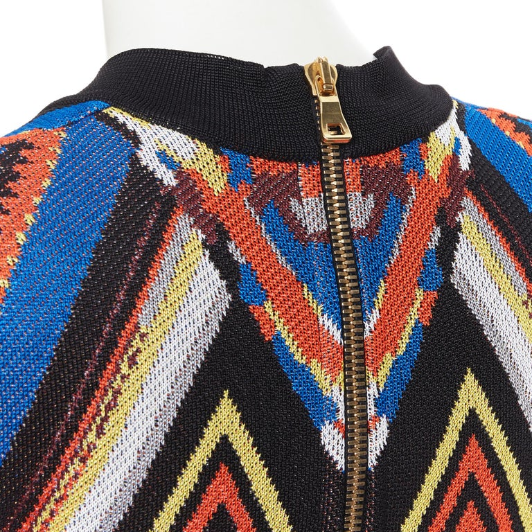 new BALMAIN Runway ethnic tribal knitted lace V-neck bodycon mini dress FR38 M For Sale 5