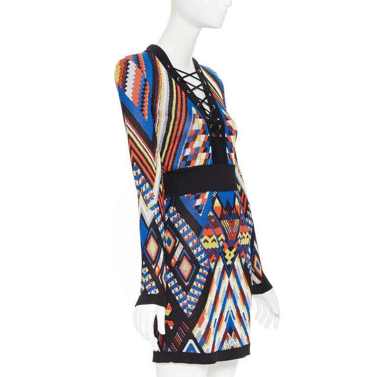Black new BALMAIN Runway ethnic tribal knitted lace V-neck bodycon mini dress FR38 M For Sale