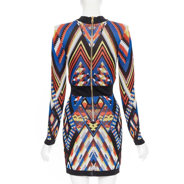 Women's new BALMAIN Runway ethnic tribal knitted lace V-neck bodycon mini dress FR38 M For Sale