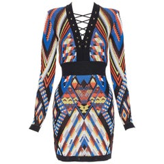 new BALMAIN Runway ethnic tribal knitted lace V-neck bodycon mini dress FR38 M