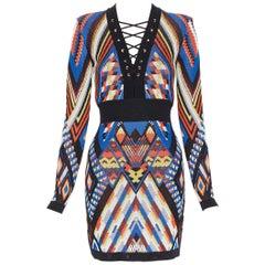 new BALMAIN Runway ethnic tribal knitted lace V-neck bodycon mini dress FR38 M
