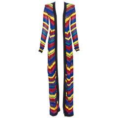 new BALMAIN Runway multi striped shoulder padded maxi knit cardigan robe FR34 XS