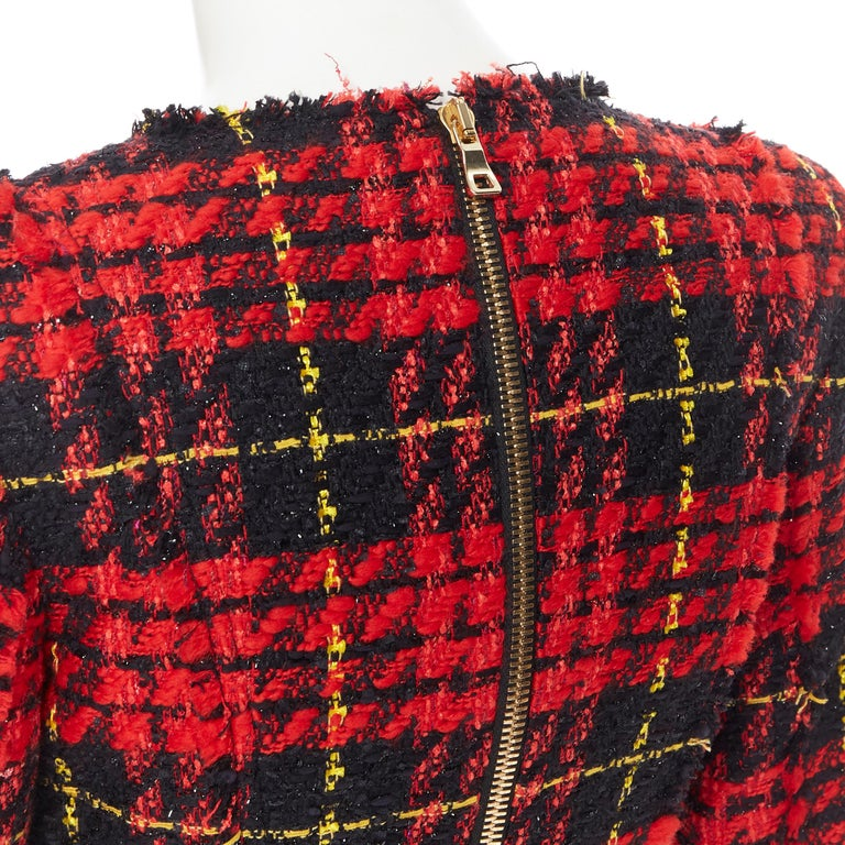 new BALMAIN Runway red black checked tweed double breasted military dress FR34 For Sale 5