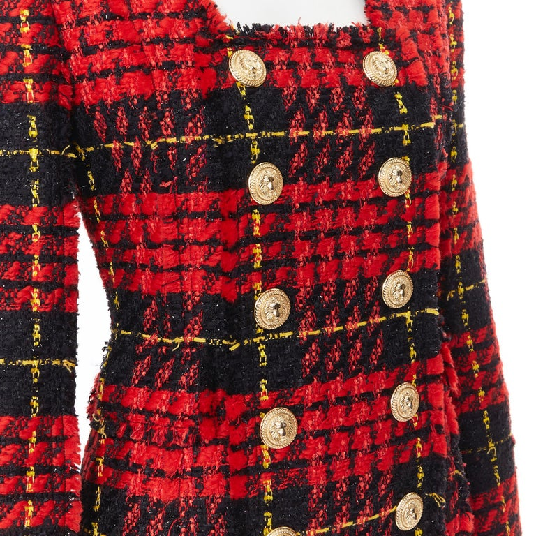 new BALMAIN Runway red black checked tweed double breasted military dress FR34  Brand: Balmain Designer: Olivier Rousteing Model Name / Style: Tweed dress Material: Polyester blend Color: Red Pattern: Check Closure: Zip Extra Detail: BALMAIN style