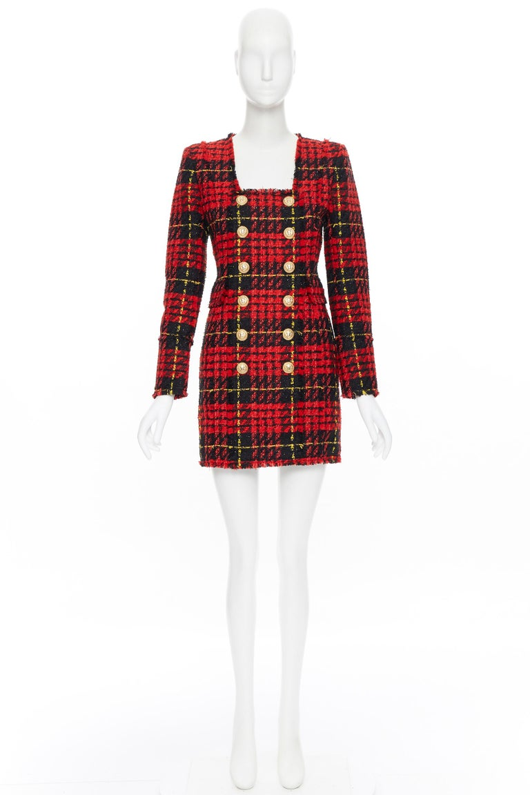 Brown new BALMAIN Runway red black checked tweed double breasted military dress FR34 For Sale