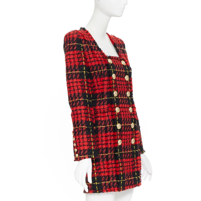 new BALMAIN Runway red black checked tweed double breasted military dress FR34 In New Condition For Sale In Hong Kong, NT