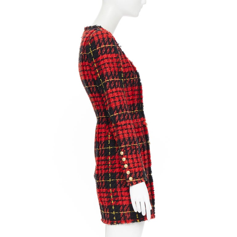 Women's new BALMAIN Runway red black checked tweed double breasted military dress FR34 For Sale