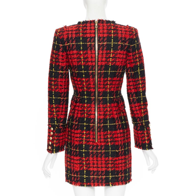 new BALMAIN Runway red black checked tweed double breasted military dress FR34 For Sale 1