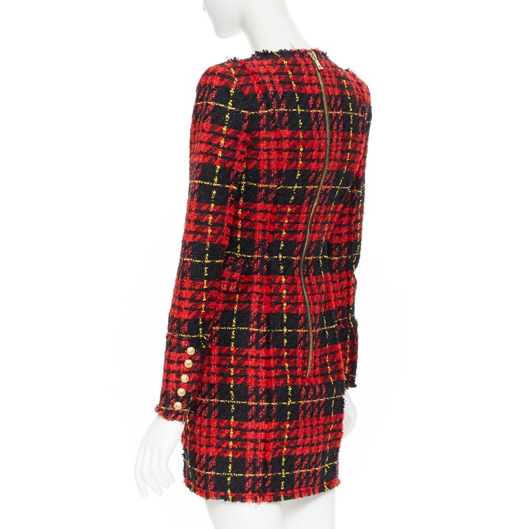 new BALMAIN Runway red black checked tweed double breasted military dress FR34 For Sale 2