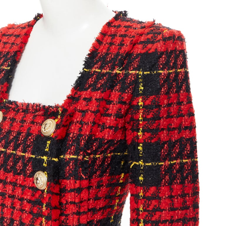 new BALMAIN Runway red black checked tweed double breasted military dress FR34 For Sale 3