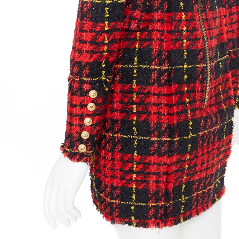 new BALMAIN Runway red black checked tweed double breasted military dress FR34 For Sale 4