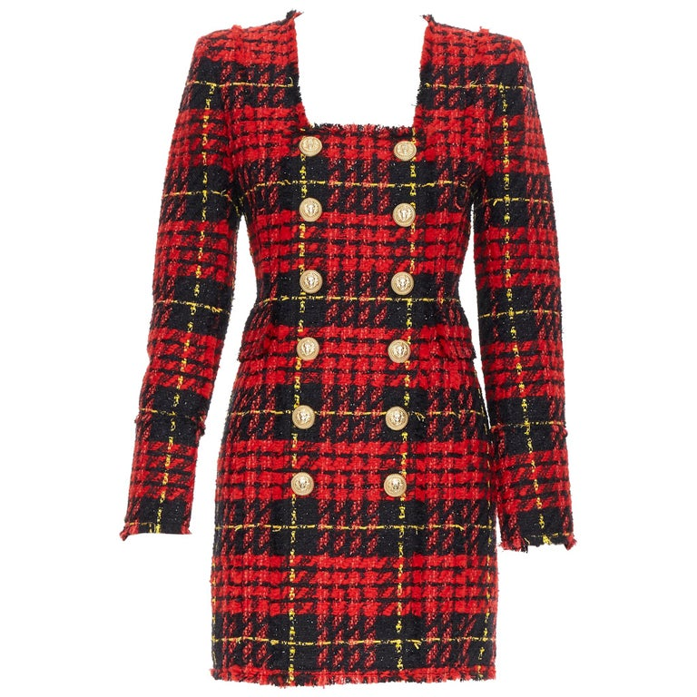 new BALMAIN Runway red black checked tweed double breasted military dress FR34 For Sale