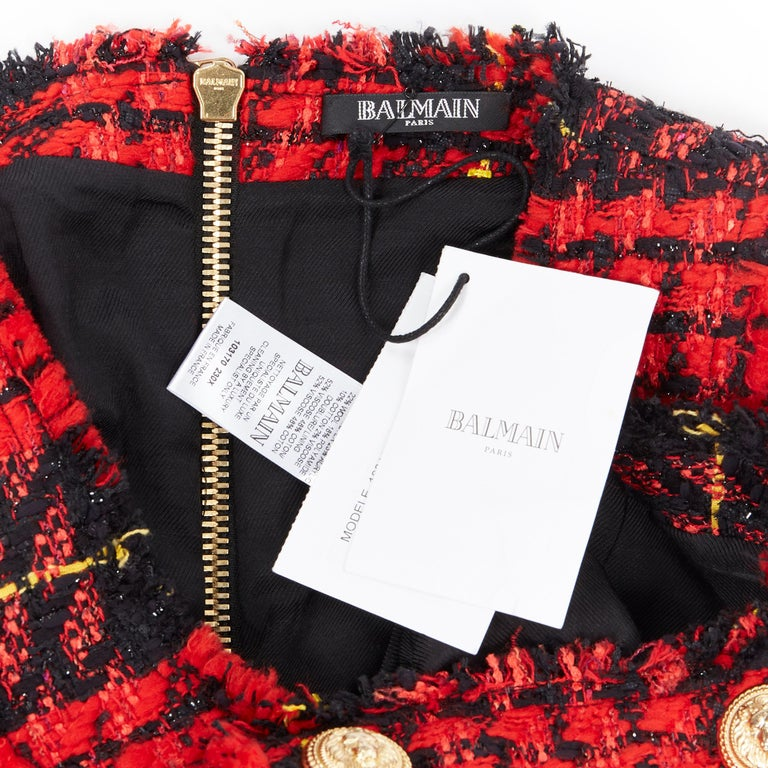 new BALMAIN Runway red black checked tweed double breasted military dress FR36 S For Sale 6