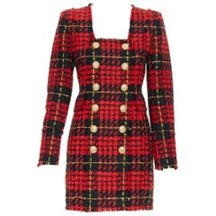 new BALMAIN Runway red black checked tweed double breasted military dress FR36 S