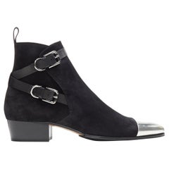 new BALMAIN signature black suede silver toe cap buckle anthos ankle boots EU44