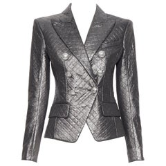 new BALMAIN silver  diamond quilted military double breasted blazer jacket FR34