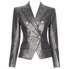 new BALMAIN silver diamond quilted military double breasted blazer jacket FR38 M
