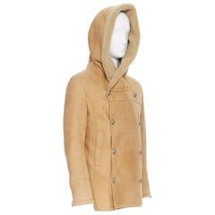new BALMAIN tan brown  silver double breasted hooded shearling leather coat EU48