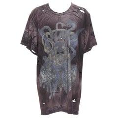 new BALMAIN washed black holey washed vintage band logo oversized t-shirt L