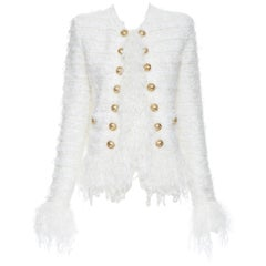 new BALMAIN white boucle gold button double breasted military tweed jacket FR36