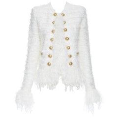 new BALMAIN white boucle knit gold double breasted fringe cardigan jacket FR36 S