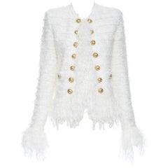 new BALMAIN white boucle tweed gold double breasted fringe cardigan jacket FR36