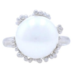 New Bastian Inverun Freshwater Pearl Ring Brushed Sterling Silver 7.5 Statement