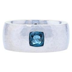 New Bastian Inverun London Blue Topaz Ring Hammered Sterling Silver